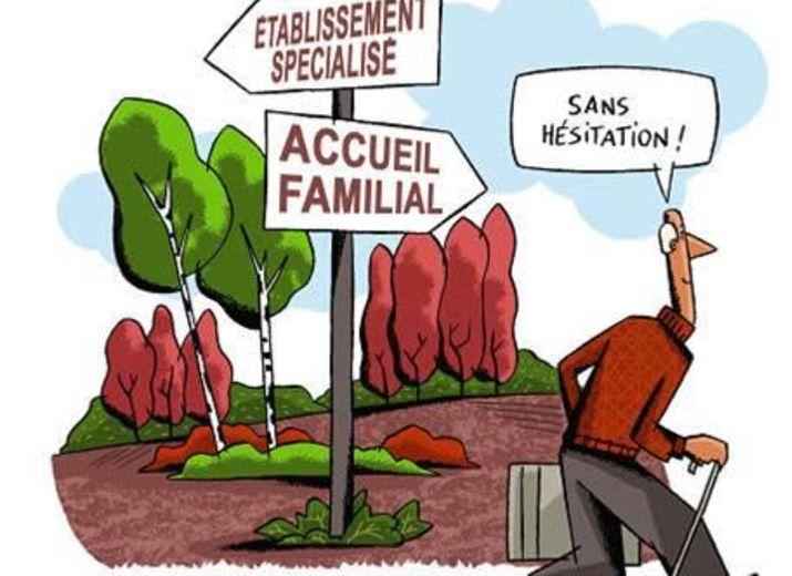 """Dessin représentant un panneau de direction avec deux directions : établissement spécialisé et accueil familial. Un vieil homme se dirige d'un bon pas vers l'accueil familial en disant """"Sans hésitation""""."""