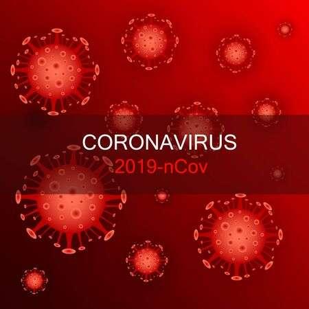 Des virus rouge de SARS-COV2 sur fond rouge